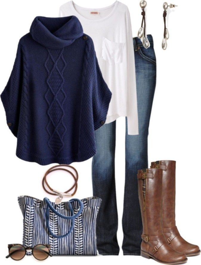c51460140daf I think I'd wear everything here, even the long sleeve shirt, unusual for  me. I love the navy blue poncho and the boots! The jeans are a good wash  but I ...