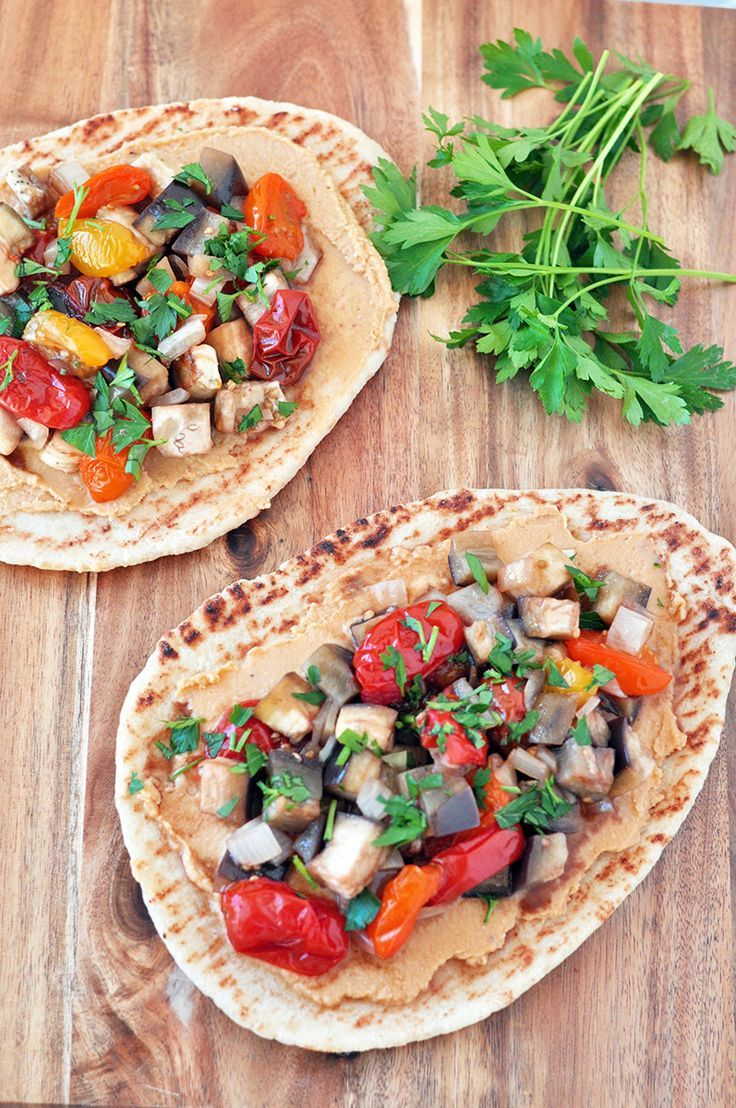 Roasted Vegetable Hummus Pizza is so full of flavor. You can roast the ...