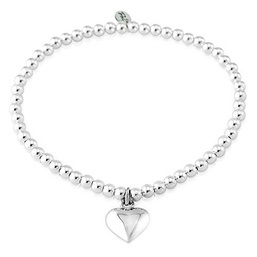 Trink Initial 'J' Letter Charm Sterling Silver Beaded Bracelet ZNw7RBu