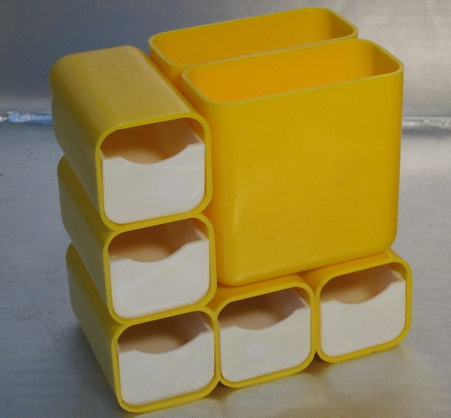 Desk Organiser Tidy Caddy RETRO YELLOW Plastic in the STYLE of KARTELL