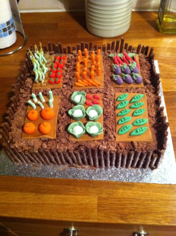 Allotment cake- mum's 60th birthday cake inspired by Fiona Cairns