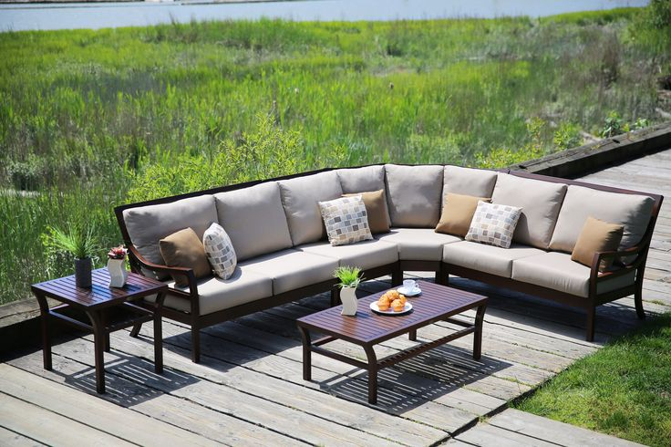 Complete with high back, sunbrella cushions and a curved corner section -