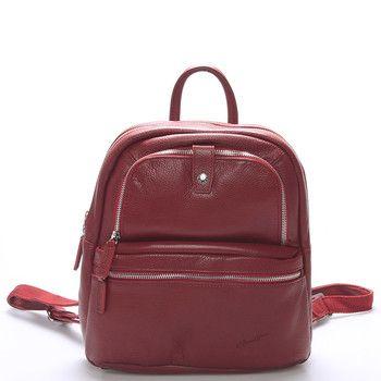 Jemný kožený dámský batůžek červený  #GerardHenonComtessa