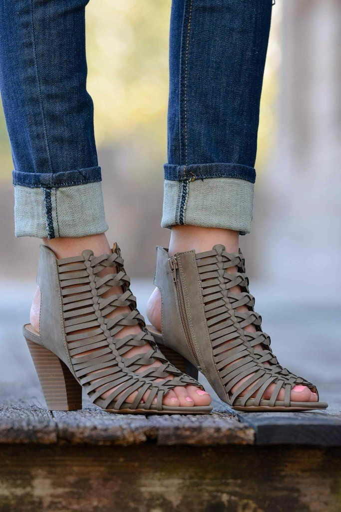 Grey Caged Heeled Sandal Shop Simply Me Boutique Shop SMB – Simply Me Boutique