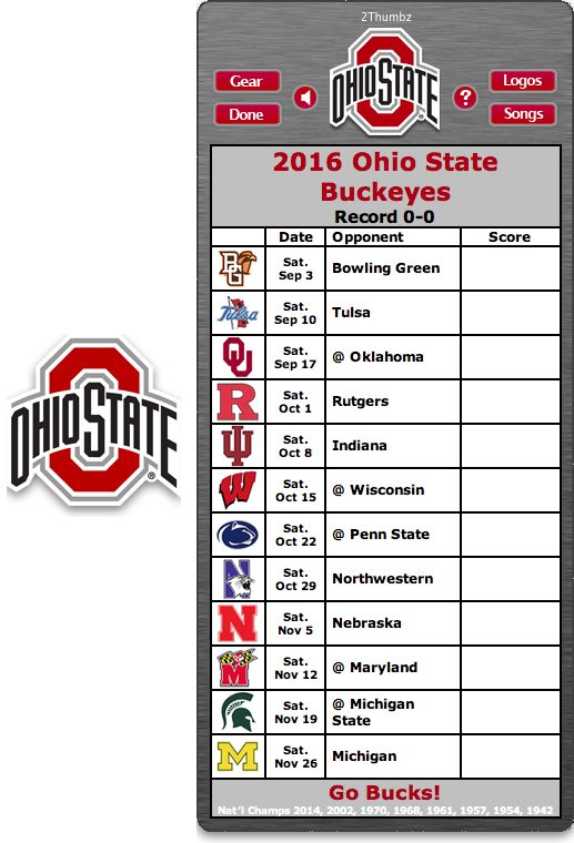 Get your 2016 Ohio State Buckeyes Football Schedule Mac App for Mac OS X - Go Bucks! http://2thumbzmac.com/teamPages/Ohio_State_Buckeyes.htm