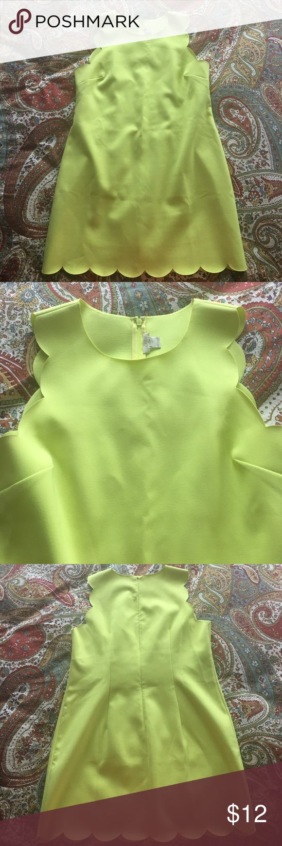 J crew scallop lime green dress Only worn 2 times! Great condition! Size 14 but size tag has been removed J. Crew Factory Dresses Mini