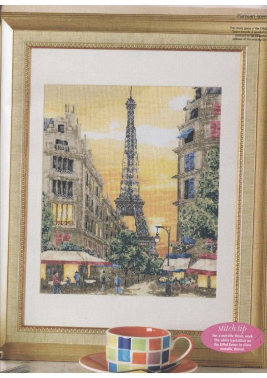 Europe city Paris France downtown, full free cross stitch pattern with DMC labeling - Cover
