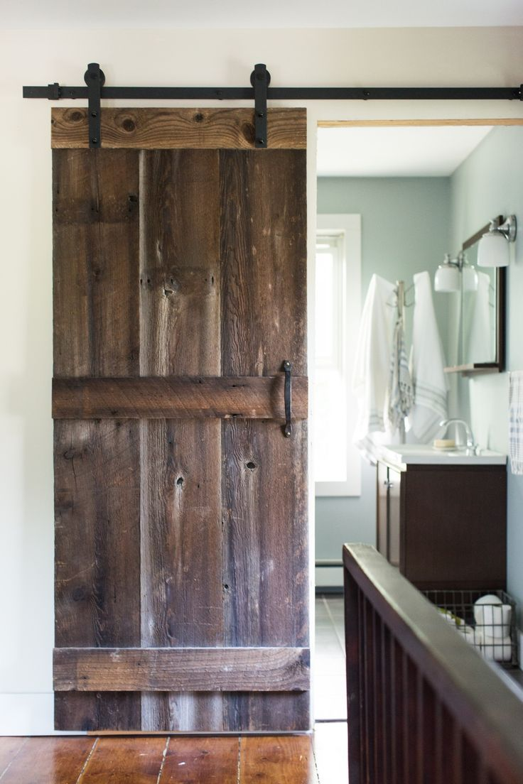 barn door (A Farmhouse Industrial Style Home in the Hudson Valley)