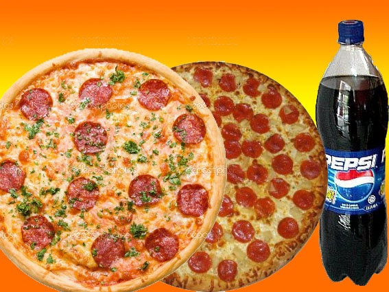 2 PIZZAS Base(Tomate y Queso) + 2 ingredientes + 1 L DE REFRESCO 9,00€