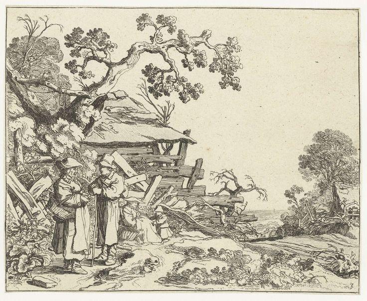 Pieter de Molijn   Landschap met een boer en een boerin, Pieter de Molijn, 1626   In een landelijke omgeving staan een boer en een boerin in de buurt van een vervallen huis te praten. Achter hen staat een klein kind bij een zittende oude vrouw. Deze prent is onderdeel van een serie van vier prenten van landschappen met figuren.