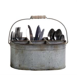 Galvanized Tin Caddy  											  										  										  											  												  												with six compartments