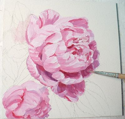 Zeh Original Art Blog Watercolor and Oil Paintings: Pink Peony Oil Painting on Panel