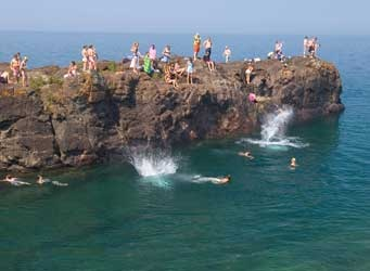 We always find ways to cool off in Marquette.Michigan Travel, Favorite Places, Marquette Michigan, Isle Parks, Lakes Superior, Presque Isle, Kids Jumping, Travel Planner, Ahhh Black Rocks