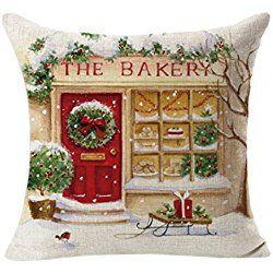 Fheaven Christmas Cotton & Linen Square Throw Flax Pillow Case Decorative Cushion Pillow Cover 45cm45cm (D)