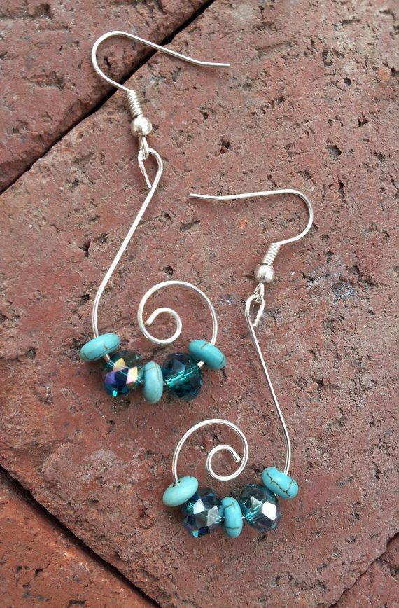 Silver Celestial Swirls with Sublime Teal, Seafoam Green Anchor Beads, Etheral Earrings >>> (This is Amazon Affiliate Link) More info could be found at the image url.