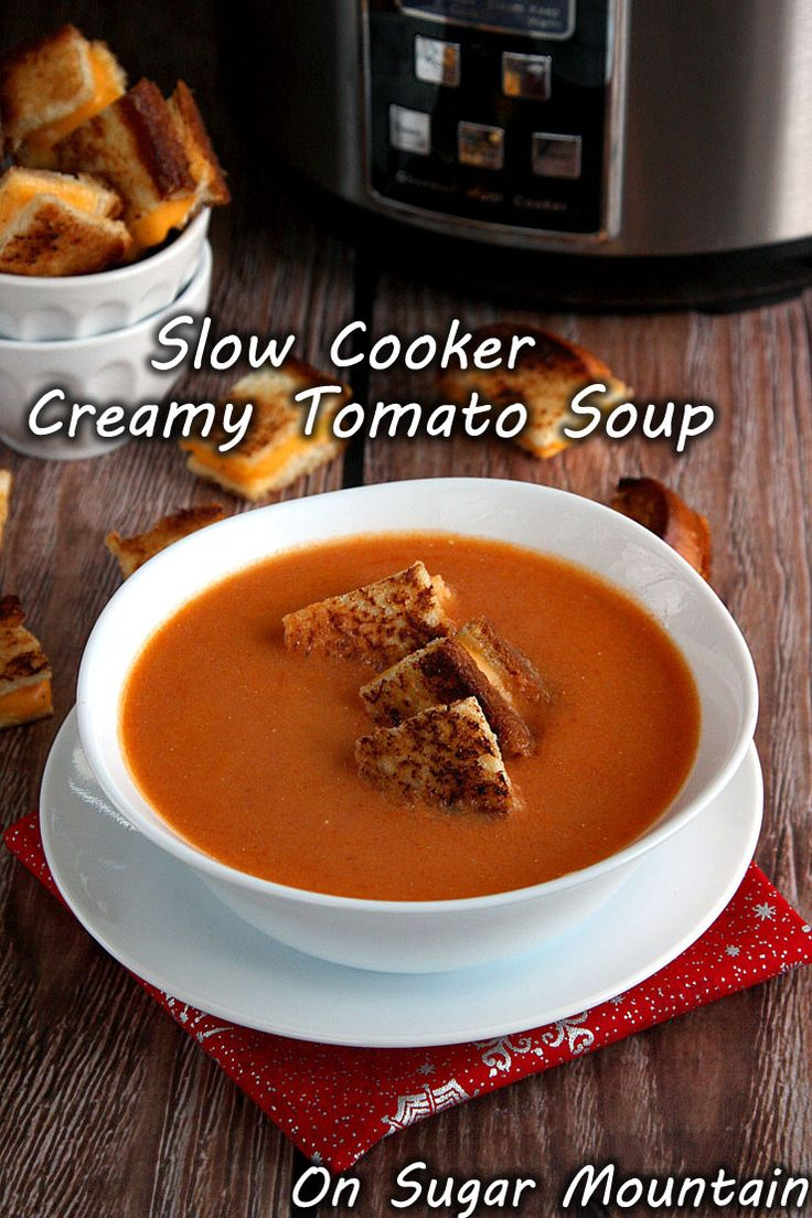 Slow Cooker Creamy Tomato Soup with Grilled Cheese Croutons — The base of this hearty soup is a combination of caramelized onions & tomatoes, which cook right in your slow cooker. After pureeing, the soup gets a wonderful creamy kick from PHILADELPHIA cream cheese. An effortless way to make soup taste richer & creamier!