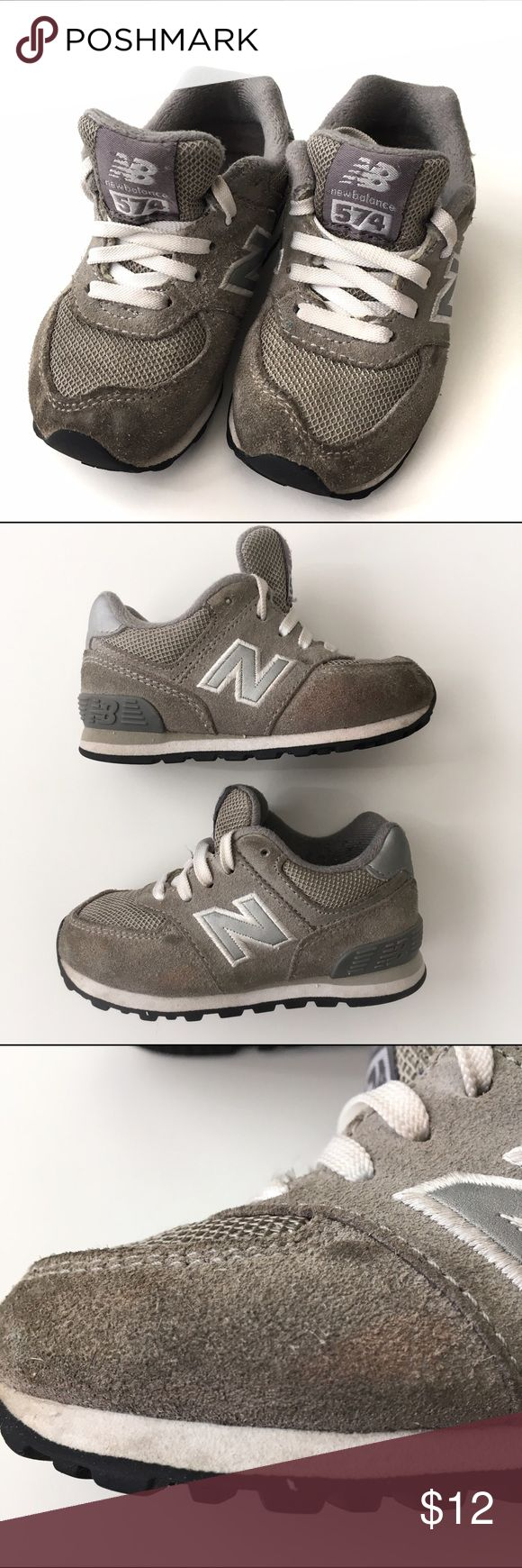 New Balance Toddler Sneakers New Balance Toddler Sneaker in size 6.5 Grey on grey color. In Play Condition; has some darkening at the toes, pink discoloration on sides and a stain on the back rubber, Laces are discolored, bottoms are mostly clear. See pictures for all flaws. Even with flaws, great quality brand and can still get so much use out of them. $12 or discounted of bundled. New Balance Shoes