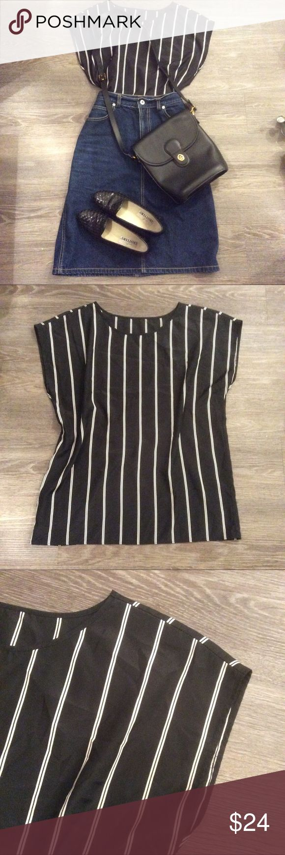 🌾 Handmade Parisian simple stripe top blouse cute Adorable black stripe top, lightweight and unlined and endlessly versatile. Photo is for reference and is shown tucked into a skirt, but can be worn loose over some skinny jeans. Accessories not included but sold separately. Best fits XS-M depending on how slouchy you'd like it to be. Purchased from a vintage boutique in Paris France. Looks very much what Alexa Chung would wear. Bundle to save! Vintage Tops Blouses