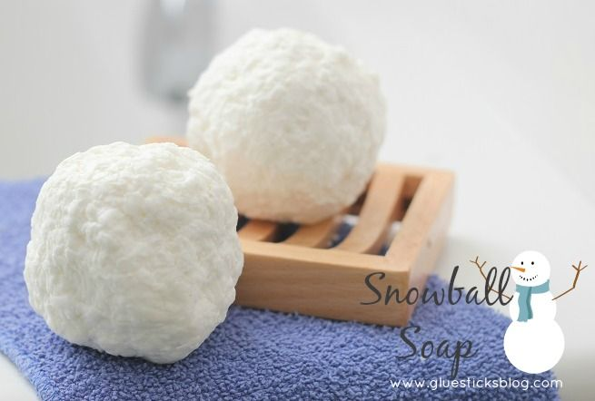 Snowball Soap - flashback to making these in kindergarten some 40 yrs ago - fun to see these again!