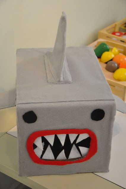 from the little nook shark valentines box use an old tissue box and cover with a neutral construction paper