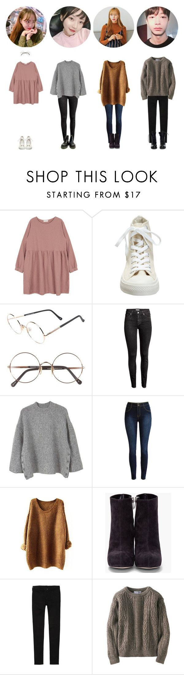 """""""Singing practice"""" by mj-trainees ❤ liked on Polyvore featuring Converse, Sunday Somewhere, H&M, MANGO, Alejandro Ingelmo, Uniqlo and Theyskens' Theory"""
