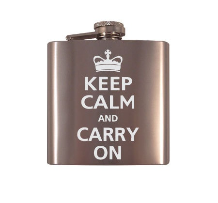 Stainless Steel Hip Flask Gift - Keep Calm And Carry On: Flasks Gifts