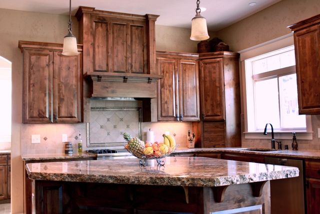 DARK stained hickory cabinets image  Dark stained kitchen