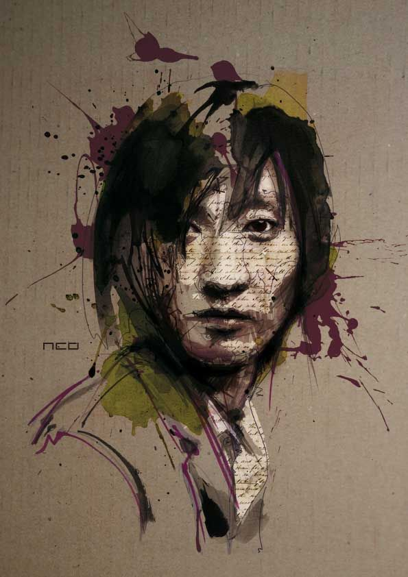Using a variety of different tools including a bic pen, watercolors and Chinese ink, artist Florian Nicolle creates amazing, mixed media portraits. After a rigorous amount of drawing and painting, she then adds texture and detail using Photoshop.