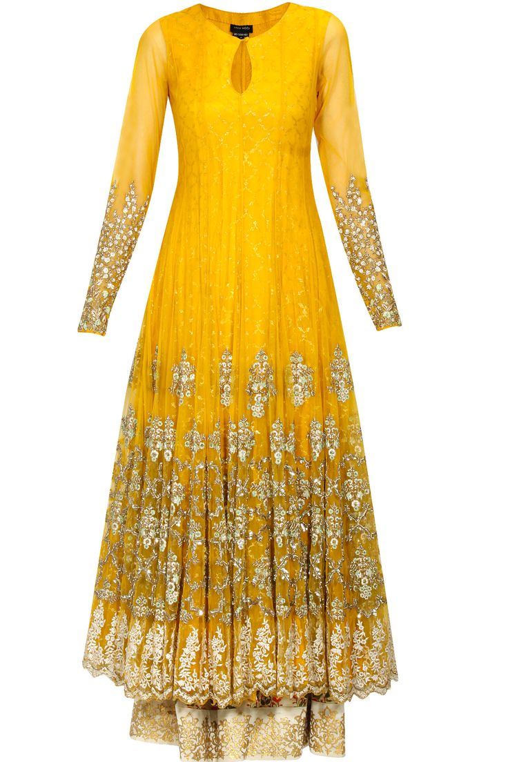 Mustard yellow floral embroidered anarkali kurta and ivory printed palazzos set available only at Pernia's Pop Up Shop.