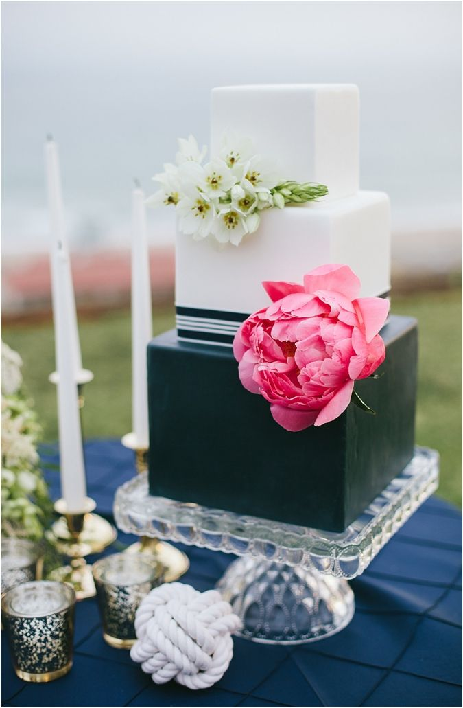 southern california bride | wedding cake | nautical wedding inspiration | square tiers | floral cake decor | navy | white | pink | cake stand