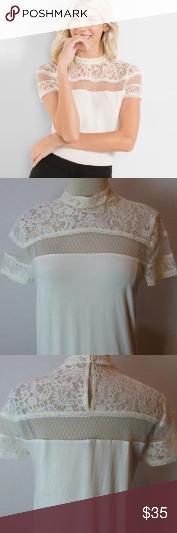 Express Lace Tee Ivory Mock Neck Lace and Mesh Yoke Tee.  Double hook closure. Short Lace Sleeves. Rayon/ Spandex Body.  Nylon Lace and Mesh. Express Tops Tees - Short Sleeve