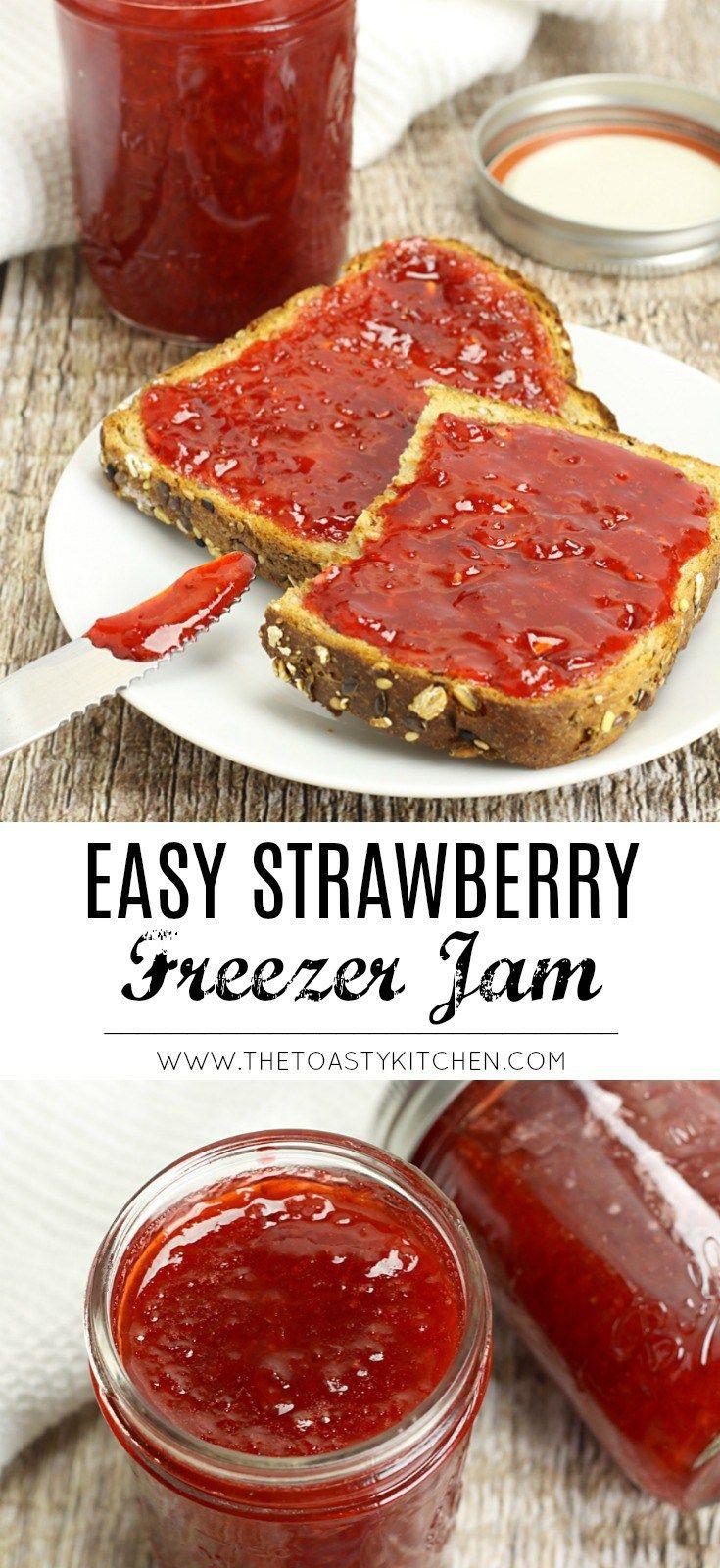 Easy Strawberry Freezer Jam by The Toasty Kitchen #jam #recipe #strawberry #free…