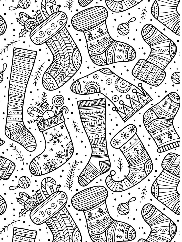 Free download to print Christmas socks coloring page in