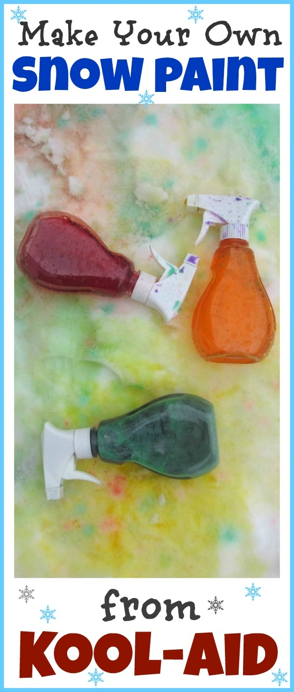 Kool-aid Snow Paint- vibrant, simple to make, very inexpensive,  and SO FUN!