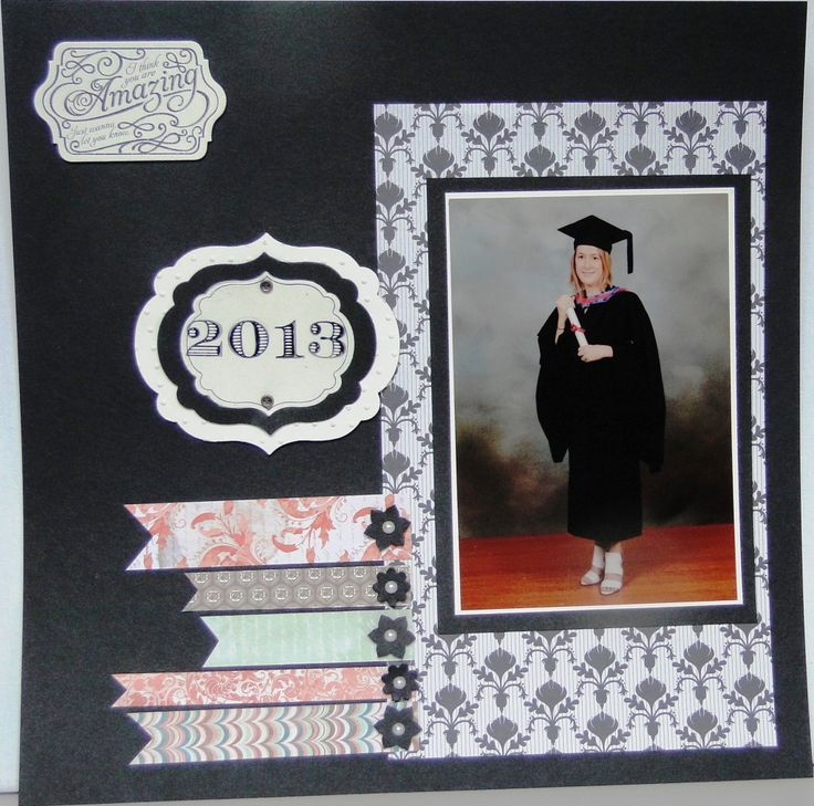 Graduation layout Designer Series Paper - Modern Medley, Venetian Romance Card – Very Vanilla, Basic Black Big Shot _ Framelits – Chalk Talk and Labels Collection Stamps – Chalk Talk, Memorable Moments, Apothecary Art Ink – Stazon Jet Black Punch – Boho Blossoms Window Sheet Basic Jewels – Pearls Vintage Trinkets – brads