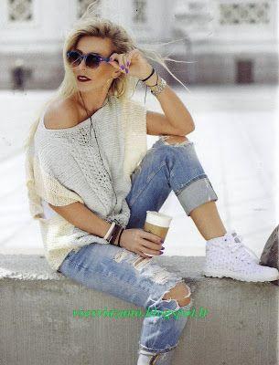 ВСЕ СВЯЗАНО. ROSOMAHA.: Летний пуловер из хлопка со спущенным плечом