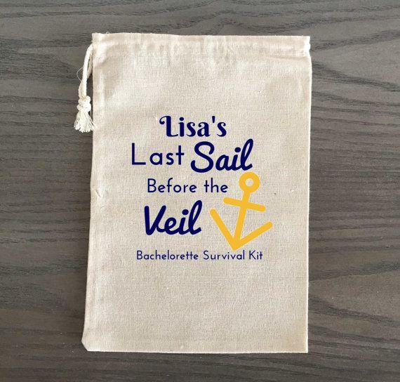 10 Bachelorette Hangover Kit, Survival Kit, Recovery Kit, Emergency Kit Favor Bags, Party Favor- Last Sail Before the Veil, Custom