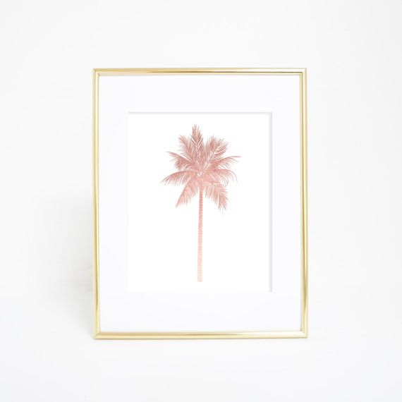 Channel those tropical vibes with this rose gold palm tree wall art prints. It's a definite statement piece for a gallery wall in your home, office or nursery. Each print is carefully made in Californ