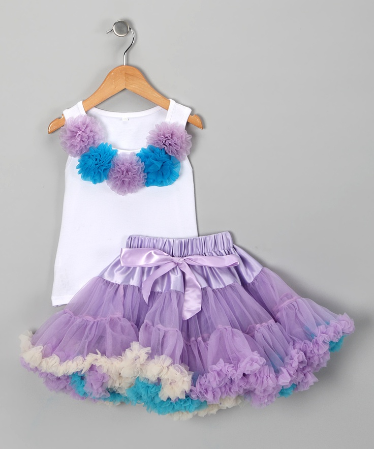 White Rosette Tank & Purple Pettiskirt - Infant, Toddler & Girls. Completely OVER THE TOP but how cute would this be in pictures lol....