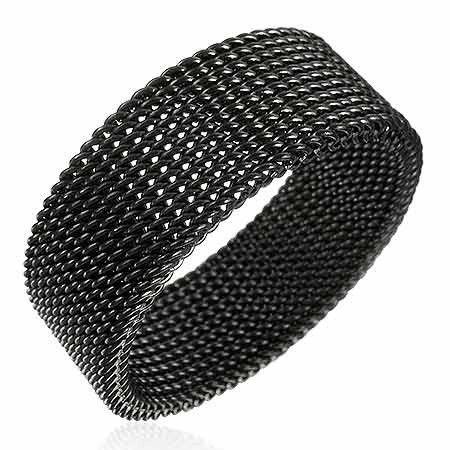 Men's Ring Black Finish Stainless Steel Mesh Band 8mm