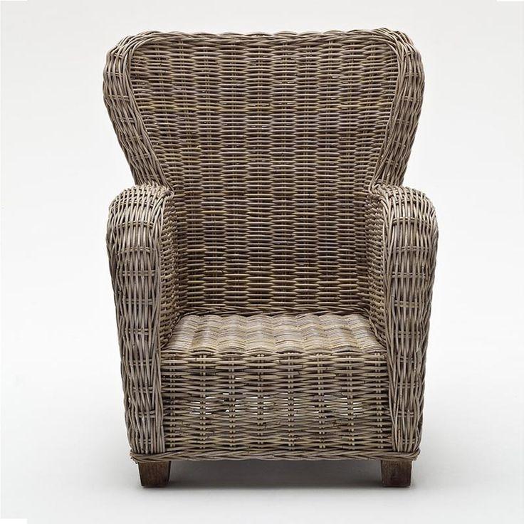 Gabby coastal wicker wingback accent chair wicker