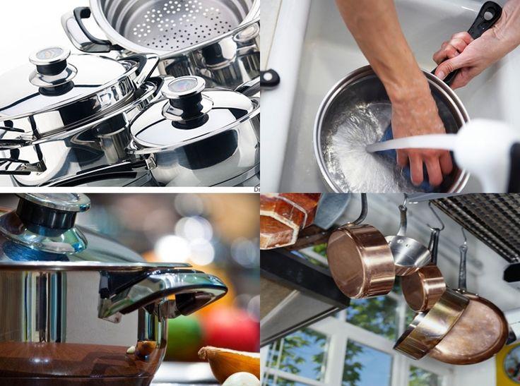 """Em casa de quem gosta de cozinhar as panelas estão sempre precisando de uma """"faxina"""". Mesmo quando são lavadas imediatamente depois de terminar de cozinha, ficam limpas, mas vão ficando escuras, perdendo o brilho. Vale ressaltar que estamos falando, neste… Continue Reading →"""