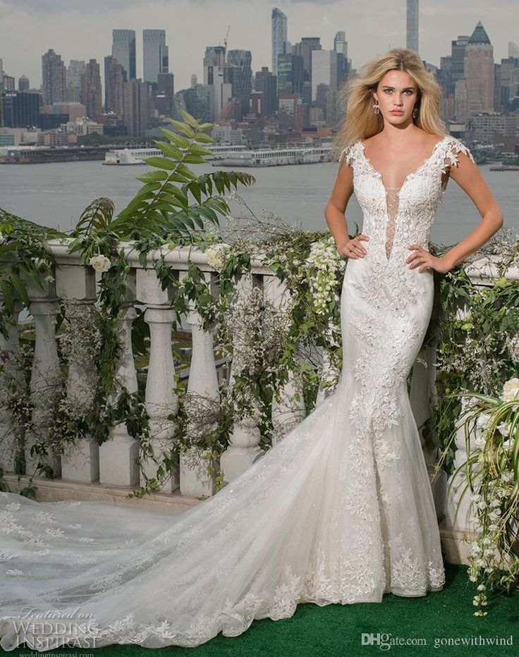 Backless Mermaid Wedding Dresses 2017 Fit And Flare Chapel Train Cap Sleeves Low Back Deep Plunging V Neck Heavily Embellished Bodice Wedding Dress Online Shop Wedding Dresses Sale From Gonewithwind, $402.02  Dhgate.Com