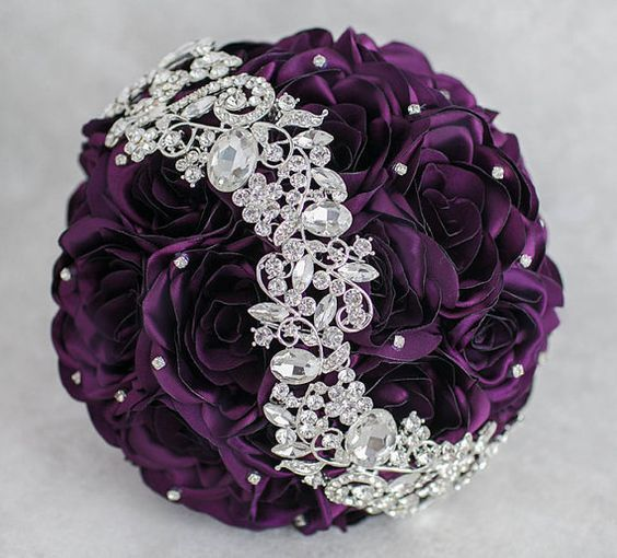 Ready to ship 8'' Purple and Silver wedding by MagnoliaHandmade