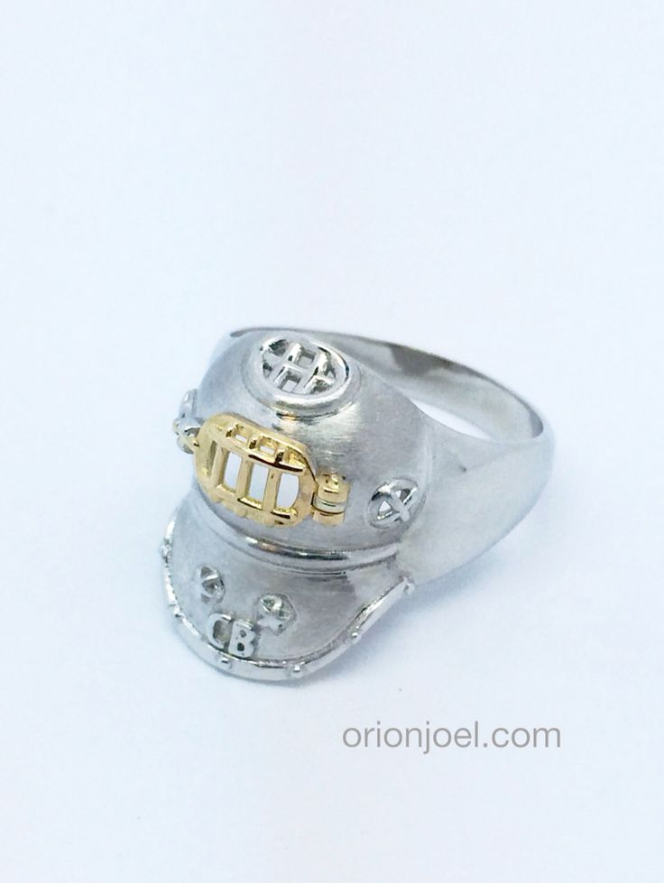Awesome custom made white and yellow gold antique divers helmet mens dress ring.