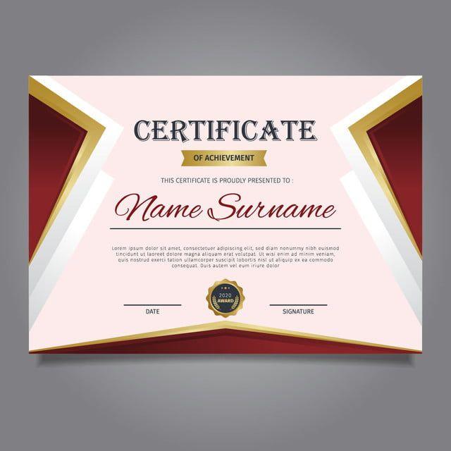 Plantilla De Certificado En Elegantes Patrones Rojos Y Dorados Con Distintivos Diseno De Diploma Graduaciones Premios Diseno De Diplomas Plantillas De Certificado Patron Rojo