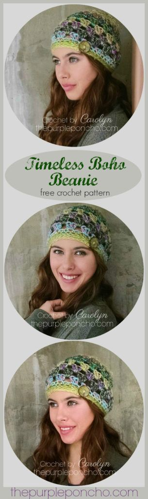 Timeless Boho Beanie – Free Crochet Pattern by The Purple Poncho. Part of the Boho Collection - beanie, shawlette & poncho!