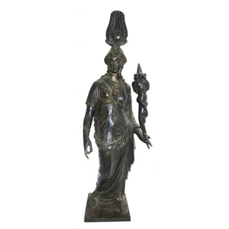 "Grand Tour Isis as Venus in Egypt.  Patina bronze.  The moving of the gods to Egyptian influence,  the greek toga and the egyptian crown.   size 12.5"" tall , base 3"" by 3"""