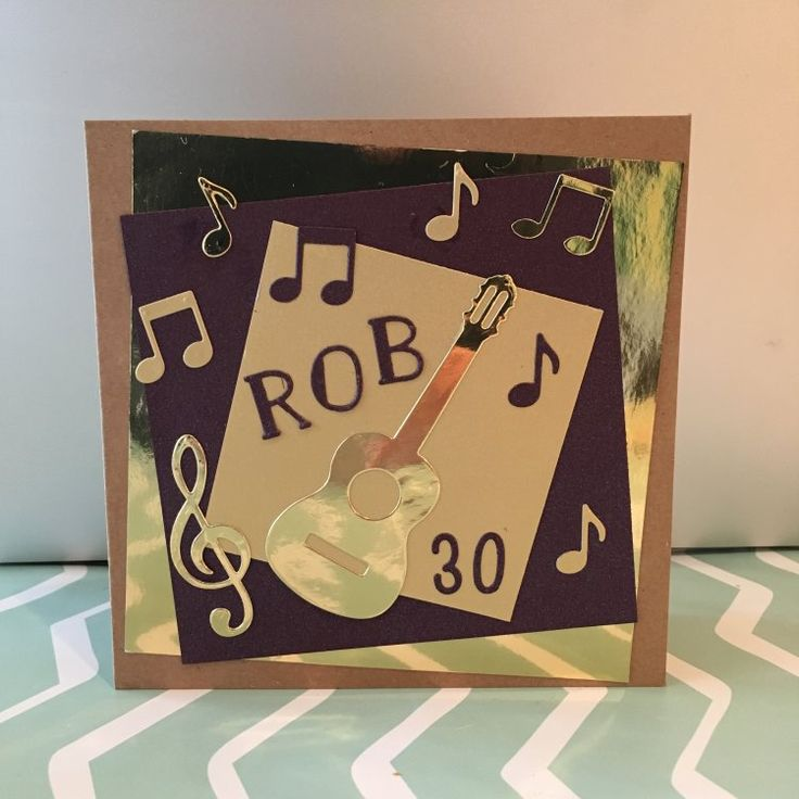 Music themed 30th birthday card tutorial