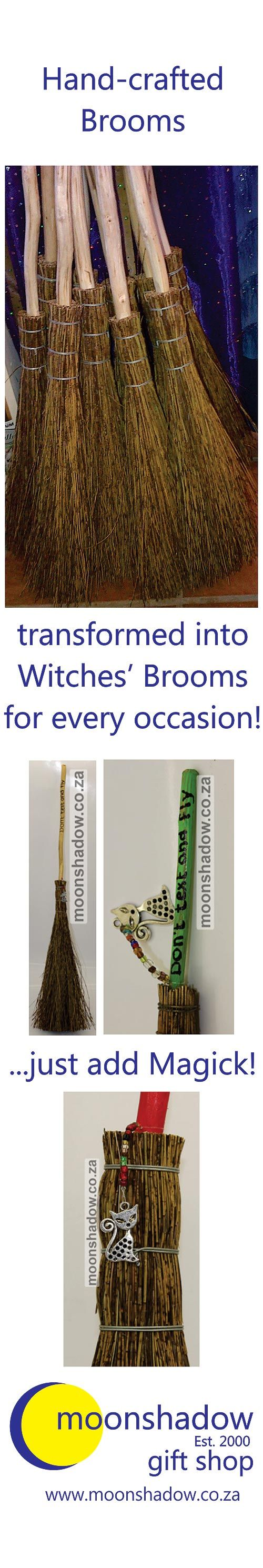 Hand-crafted brooms, decorated in our studio and transformed into Witches' Brooms for any occasion. Available from our Online Shop.   #Swellendam #SouthAfrica #Witch